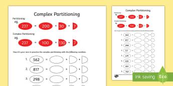 Complex Partitioning Activity Sheet - complex partitioning, activity, sheet, worksheet