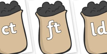 Final Letter Blends on Bags of Wool - Final Letters, final letter, letter blend, letter blends, consonant, consonants, digraph, trigraph, literacy, alphabet, letters, foundation stage literacy