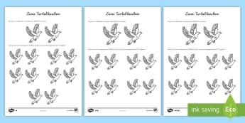 Zwei Turteltauben Arbeitsblätter - Weihnachten, Mathe, Rechnen, Addition, hundert, ,German