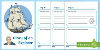 Explorer Diary Writing Activity Sheet - KS1 English, diary writing, Captain Cook, Australia, adventurer, explorer, sailor, activity, sheet