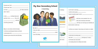 My New Secondary School Social Situation - social stories, social story, Transition, independence, change, ks2, ks3, primary, secondary, new school, new starters, progression