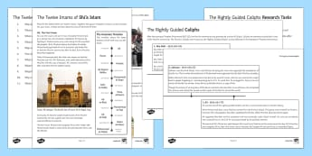History of Shi'a Islam Activity Sheets - Shi'a Islam, caliph, caliphate, Abu Bakr, Muhammad, introduction to Shi'a Islam, islam, muslims