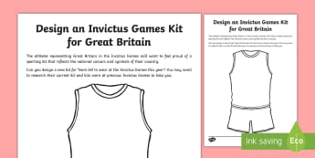 Invictus Games Design a Kit Activity Sheet - KS2 - Invictus Games - 23rd Sept 2017, worksheet, athlete, athletics, sports events