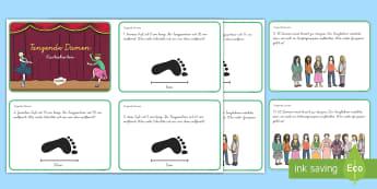 Neun tanzende Damen : DIN A4 Karteikarten - Mathe, Plus, Mal, Einmaleins, Additon, Multiplikation, ,German