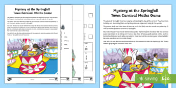 LKS2 Mystery at the Springfall Carnival Maths Game - problem solving, calculations, clues, measures, Numbers