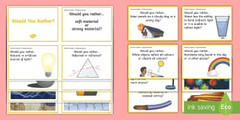 Would You Rather...? Physical Sciences Years 5-6 Question Cards  - Physical science, would you rather, science cards, Australian curriculum, science tuning in, science