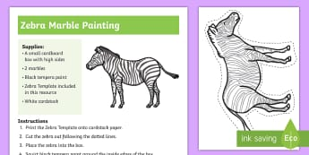 Zebra Marble Painting Craft - zebra, marble, painting, craft, paint, crafting, marbling, activity