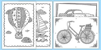 Coloriages anti-stress : Les transports - arts plastiques, arts, couleurs, cycle 1, cycle 2, cycle 3, transport