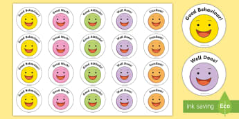Smiley Face Badges - rewards, young people, good behaviour, good attitude, badges, stickers