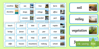 Geographical Features Word Cards - geographical features, topic, words, word cards, cards, topic, geography, features, landscape, beach, cliff, city, forest
