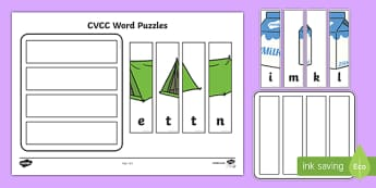 Workstation Pack:  CVCC Words Puzzles (Mixed) Activity Pack