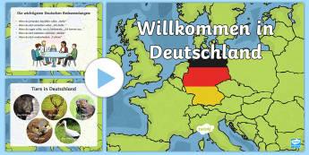 Willkommen in Deutschland PowerPoint - Willkommen in Deutschland, Deutschland, Deutsch, Wetter, Jahreszeiten, Tiere, Menschen, Regierung, E