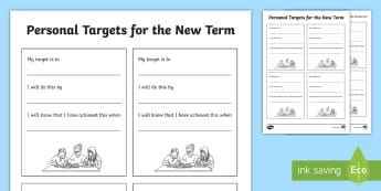 Personal Targets for the New Term Activity Sheet - Personal Targets for the New Term Activity Sheet - targets, aims, goals, personal growth, personal t