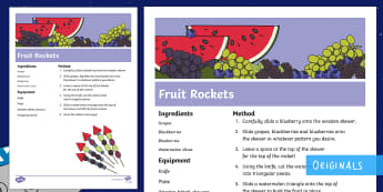 Back to Earth with a Bump Fruit Rockets Recipe - Watermelon, blueberries, grapes, blackberries, skewer, space, food, fruit, snacks, snack time