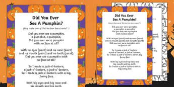 Did You Ever See a Pumpkin? Rhyme - EYFS, Halloween, pumpkin, poem