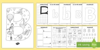 Consolidarea literei B Broșură - alfabetul, alfabetar, litere, sunete, grafisme,Romanian