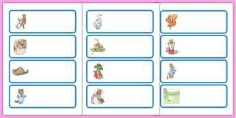 Beatrix Potter Drawer Peg Name Labels - beatrix potter, author, drawer, peg, name, labels