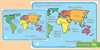 Mapa del mundo con nombres - decoración de la clase, mundo, atlas, mar, oceano, ,Spanish