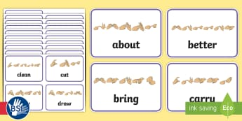 Third Grade Dolch List Sight Words with Fingerspelling Flashcards - high frequency words, British sign language, manual alphabet, developing reading, widening vocabular