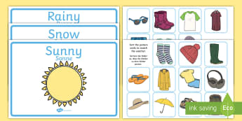 Weather Clothes Sorting Activity English/German - Weather Clothes Sorting Activity - clothes sorting activity, weather and the seasons, clothes, weath