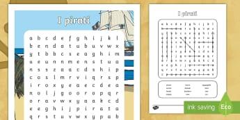 I pirati Parole Intrecciate - parole, cerca, pirateria, pappagallo, capita, uncino, spiaggia, italiano, italian, materiale, scolas