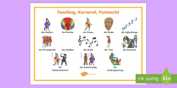 Fastnacht Word Mat - Fasching, German, Karneval, carnival, celebrations