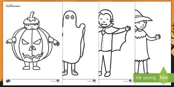 Halloweenkostüme Ausmalbilder - Fest, gruselig, verkleiden, Verkleidung, malen, anmalen,,German