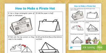 How to Make a Pirate Hat Instruction Activity Sheet - worksheet, craft, creative, newspaper, paper hat, party hat