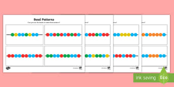 Bead Threading Repeating Pattern Activity - Requests CfE, soft start, patterns, numeracy, mathematics, easy level, game, independent, repeating