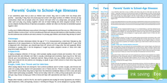 Parents' Guide to Common School Age Illnesses Parent and Carer Information Sheet - parents, advice, work, schools, teaching, volunteering, illness, sickness, off school, keep off, abs