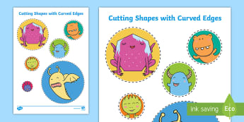 Cutting Shapes with Curved Edges Activity Sheet - Back to School, Junior Infants, cut, scissors, fine motor, motor skills,Irish, Worksheet