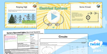 PlanIt - DT LKS2 - Battery Operated Lights Unit Lesson 2: Electrical Systems Lesson Pack - switches, series circuits, electrical systems, bulbs