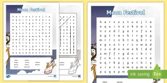 Moon Festival Word Search - Moon Festival, Festival, Mid-Autumn Festival, Mooncakes, Photos, word search, Harves