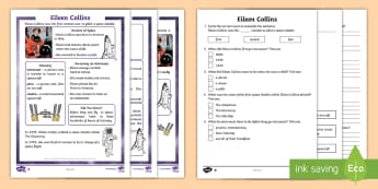KS1 Eileen Collins Differentiated Reading Comprehension Activity -  KS1 Comprehensions, KS1, Key Stage One, Year One, Year 1, Y1, Year Two, Year 2, Y2, reading compreh