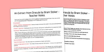 Dracula Extract Teachers Notes - dracula, extract, story, ks3, bram stoker, vampire, notes, teacher