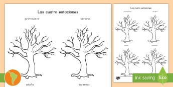Ficha de actividad: Las estaciones en el árbol - cuatro estaciones, platilla del árbol, estaciones, invierno, otoño, verano, primavera, español