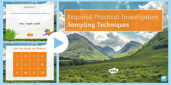 Required Practical Investigation Sampling Techniques in Habitats Quiz PowerPoint - PowerPoint Quiz, Quadrat, Transect, Required Practical Investigation, Sampling, Area, Species, Abiot