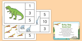 EYFS Dinosaur Count Busy Bag Prompt Card and Resource Pack