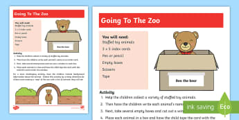 Going to the Zoo Activity - write, words, letters, literacy, animals,