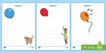 Balloon-Themed Pencil Control Activity Sheets - EYFS, Early Years, KS1, handwriting, letter formation, physical development, balloons, party, fine m