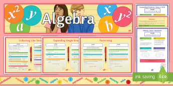 KS3 Algebra Display Pack - simplify, expressions, maths, multiply, revision, classroom, title, banner, border