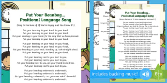 Put Your Beanbag...Positional Language Song - Singing, Song Time, Position, Prepositions, In, On ,Under, Above, Below, Between,