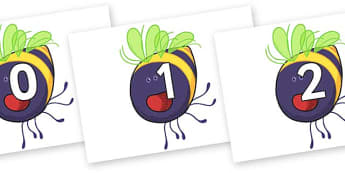 Numbers 0-31 on Bumblebee to Support Teaching on The Crunching Munching Caterpillar - 0-31, foundation stage numeracy, Number recognition, Number flashcards, counting, number frieze, Display numbers, number posters