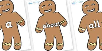 100 High Frequency Words on Gingerbread Men - High frequency words, hfw, DfES Letters and Sounds, Letters and Sounds, display words