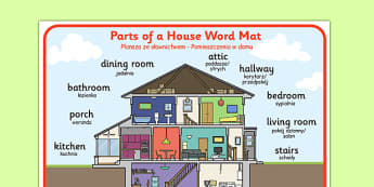 Parts of a House Word Mat Polish Translation - polish, part, house, word mat, word, mat
