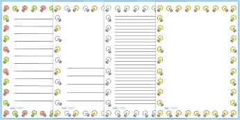 Light Bulbs Page Borders - Electric, safety, safe, page border, border, writing template, writing aid, writing aid, power, circuit, electricity, battery