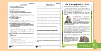 The History of Belfast Castle Differentiated Reading Comprehension Activity - World Around Us KS2 - Northern Ireland, Belfast, castle, history, Shaftesbury, Donegall, Marquis
