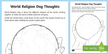 World Religion Day Thoughts Activity Sheet - KS1 World Religion Day 15th January,  religion, religious ideas, religious beliefs, world improvemen
