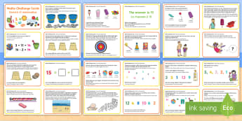 Summer Themed Maths Challenge Cards English/Italian - Summer Themed KS1 Maths Challenge Cards - summer, challenge, math, challange, summertime, Timw, mats