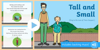 Tall and Small  Song PowerPoint - singing, song time, height, big, measurement, size, shape, space and measure